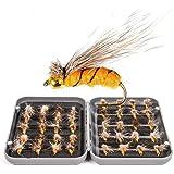 JasCherry Moscas de Pesca Moscas Artificiales Señuelos de Pesca con Mosca con Caja Impermeable, Pesca de Perca Trucha Bacalao