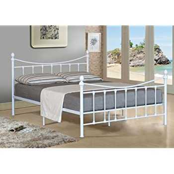 Comfy Living Alexis Classic 5ft King Size White Metal Bed Frame