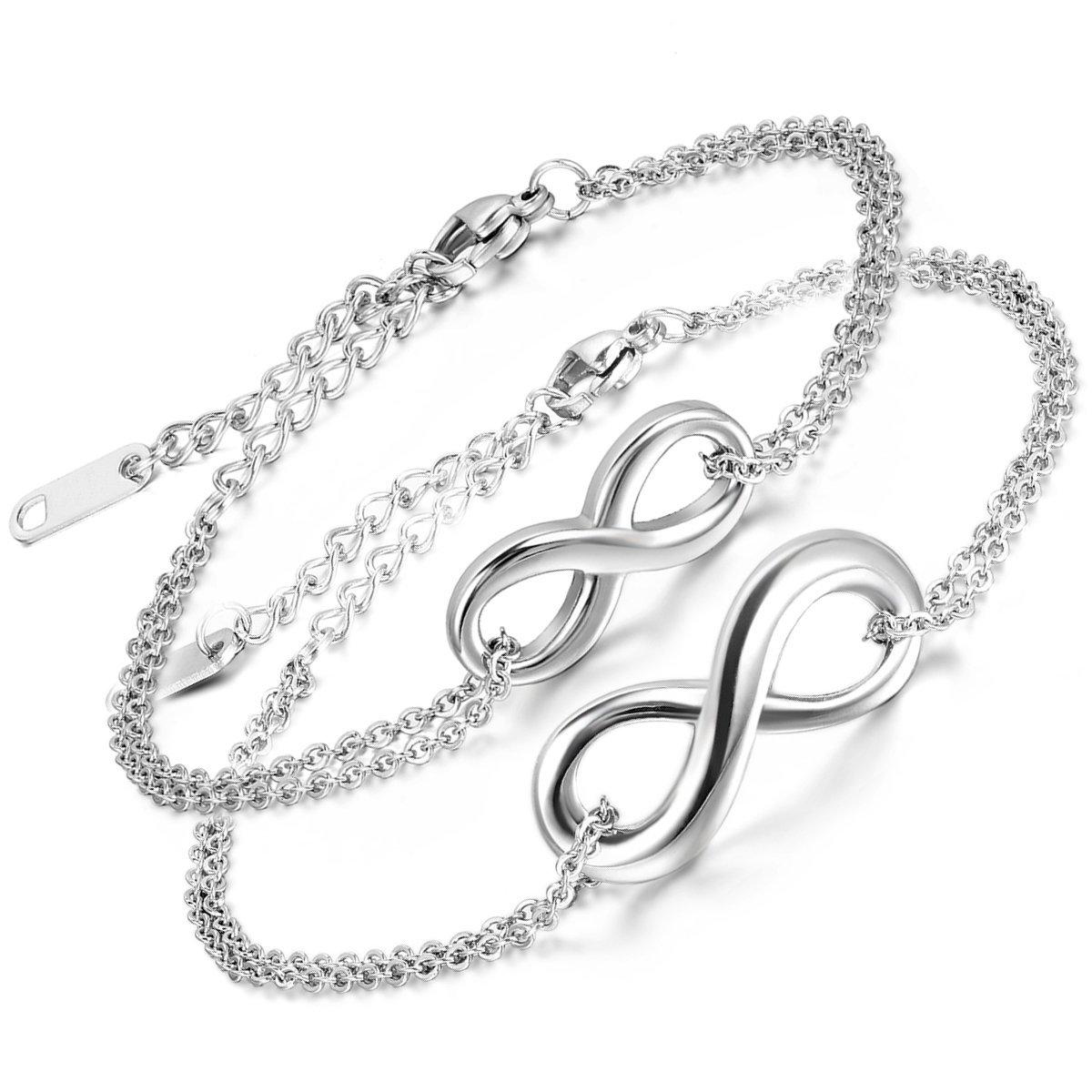 Aroncent 2-er Armband Infinity Armkette Damen Gliederarmband Partnerarmbänder Verstellbar Fußkettchen Edelstahl Armreifen Fußkette Freundschaftsarmband, Silber