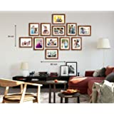 Art Street - Zig Zag Synthetic Wall Photo Frames -12 Frames of 6 x 8 Inches Matted to 4 x 6 Inch,Brown Color