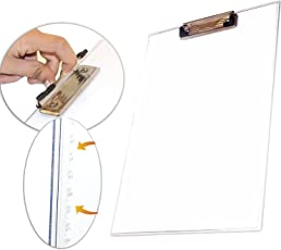 nisun Paper Clipboard Writing Pad, Exam Board For Kids / Students, Transparent Exam Pad - Documents Remain Visible With One Side Ruler