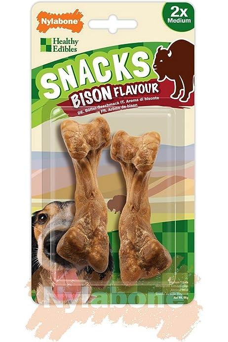 Paquete de 2 Snacks con forma de hueso y sabor a b/úfalo para perros Nylabone