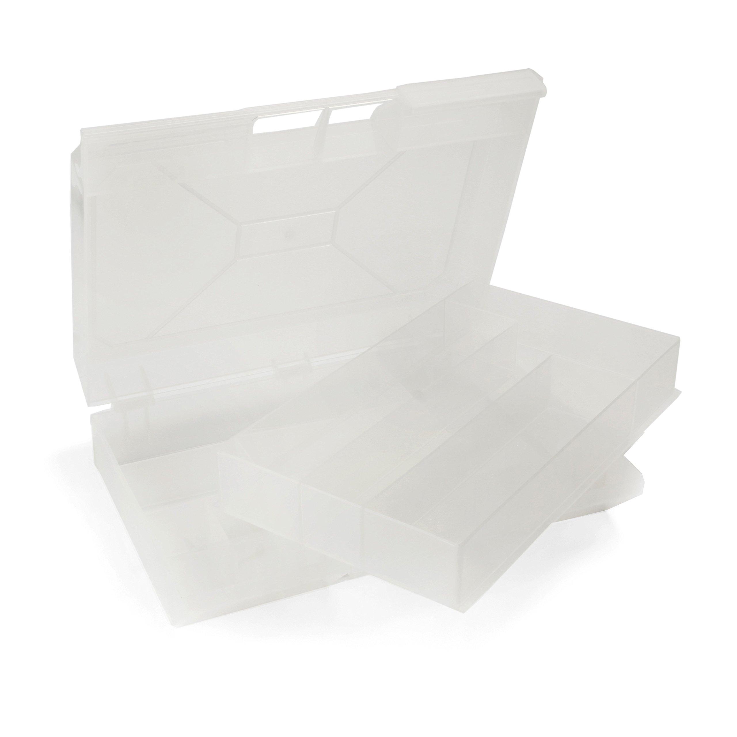 Cuentas directo 13Compartimiento 2capa caja de almacenamiento w/mango, transparente