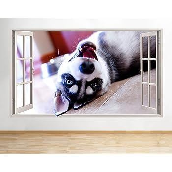 Wall Stickers Husky Pups Yawn Cute Animals Window Decal 3D Art Vinyl Room H783