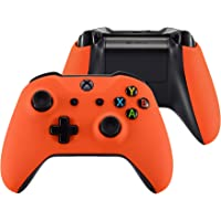 eXtremeRate Soft Touch Orange Faceplate Cover, Front Housing Shell,Soft Grip Back Panels for Xbox One X & One S…