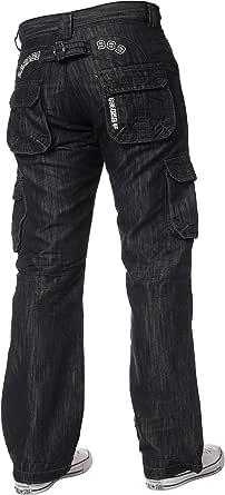 New ENZO Mens Designer Cargo Combat Blue Coated Denim Jeans Pants All Waist Size