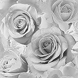 Grey Flower Wallpaper Wall Rose Bloom 3D Effect Floral Designer Bella