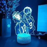 H_aikyuu Luz nocturna 3D Ilusión Anime Voleibol Niño Carácter Lámpara con Control Remoto USB 16 Colores Luces LED