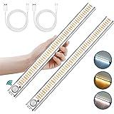 Lampe de Placard 160 LED, 2Pcs Lampe LED Detecteur de Mouvement avec 3 Couleurs, Rechargeable USB Lumiere LED avec 4 Modes et