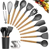 Womdee Silicone Cooking Utensils Kitchen Utensil Set - 11 Pieces Natural Wooden Handles Cooking Tools Turner Tongs Spatula Sp