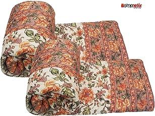 Shopnetix Jaipuri Light Weight Pure Cotton Traditional Rajasthani Print Bed Quilt (Orange, 85x55-inch) - Set of 2