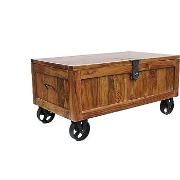 Ecoindia Large Sheesham Trunk Coffee Table On Wheels Amazon