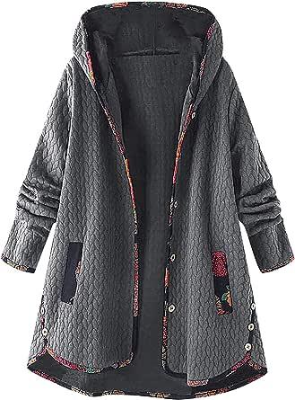 TIFIY Damen Mantel Pl/üschjacke Floral Print Winterjacke Casual Mantel Faux F/ür Warmen Lange /Ärmel Outwear