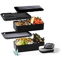 Atthys® - Lunch Box Noir Mat | Bento Japonais Design 3 Couverts Offerts | Bento Box 2 Compartiments Hermétiques 1200 ML…