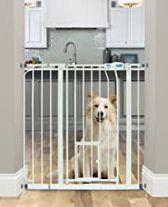 Carlson Extra-Wide Walk-Thru Gate with Pet Door (White)