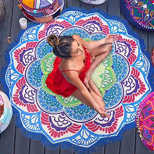 Preciosa Bohemia Manta de Playa Colorida-Esterilla de Yoga Perfecta Toalla Mandala para Relajarse en la Arena, Picnic y Decoración en la Pared (azul)