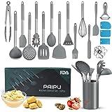 Utensilios de Cocina Silicona PAIPU, 32 Piezas Utensilios de Cocina Resistentes al Calor y Antiadherentes, Juego de Raspadore