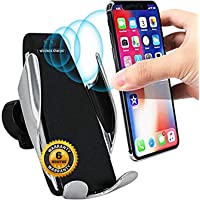 Trajectory Car Mobile Holder, Wireless Car Charger Automatic Clamping Fast Charging Phone Holder Mount in Car for iPhone Xs/XR/X/8 Samsung Galaxy S10/S10+/S9/S9+/S8/S8 Edge, Note 9/8/5