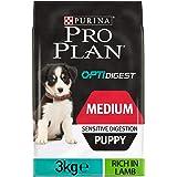 PURINA Pro Plan Comida Seco para Cachorro Mediano con Digestión Sensible con Optidigest, Sabor Cordero - 3 Kg