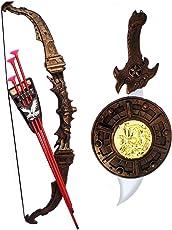 Halo Nation Bahubali Weapons Set - Knights Fancy Dress Kids Cosplay - Kings Sword, Shield, Bow & 3 Arrows (Multi)