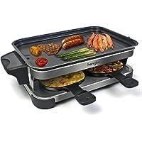 Appareil a Raclette 4 Personne avec Revêtement Anti-Adhésif, Réservoir d'huile, Facile à Nettoyer, Comprend Amélioré 4…