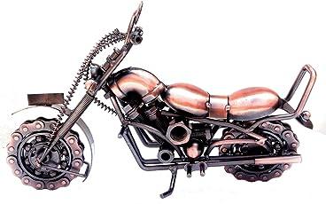 "Mohangifts Scrap Metal Art Vintage Large Handmade Motorbike Miniature Model 8x12"""