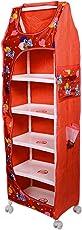 Tender Care Multipurpose 6 Shelve Foldable Almirah/Toy Box (Red)