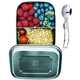 Alpin Loacker 1000ml Edelstahl Lunchbox + Göffel   lebensmittelechte Vesperdose für Erwachsene und Kinder   Brotdose + 350ml