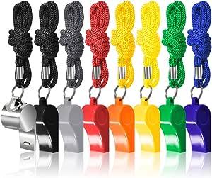 FineGood 8 da Arbitro Fischia Allenatori con Cordoni Intrecciati, 7 Colorato Plastica e Metallo Fischi per 1 Acciaio Inossidabile Football Sport Bagnini Sopravvivenza di Formazione - Multi - Colore