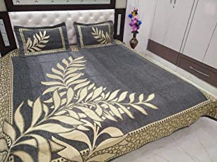 CAIRO Heavy Chennile BedCover for Double Bed, with 2 Pillow Cover, 450 TC Fabric for a Royal Bedroom