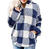 Sudadera Mujer Caliente y Esponjoso Felpa Estampada De Manga Larga Chaqueta Suéter Abrigo Mujer Otoño-Invierno Talla Grande H