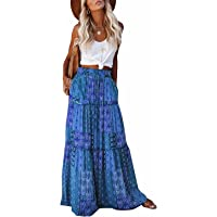 BLENCOT Womens Vintage Maxi Skirt with Pockets Floral Print Maxi Skirt Bohemia High Waist Summer Long Dresses