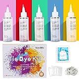 Ucradle Tie Dye Kit, 5 Stück Stoff Textilfarben, Tie Dye Kit Vibrant Stoff Textilfarben mit 40 Stück Gummi Band und 1Vinyl Ti