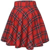 MuaDress Damen Mädchen Basic Mini Rock Solide Glocken dehnbaren informell Röcke