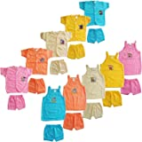 SR CREATIONS Born Baby Poly Cotton Solid Color T-Shirt and Shorts Combo Set for Infant 0-6 Months (Multicolour; Pack of 10)
