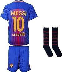 Barcelona Messi #10 2017/18 Heim Trikot und Shorts mit Socken Kinder und Jugend Größe