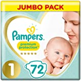 Pampers 8001090924797 Premiumskydd Blöjor, Storlek 1, Paket med 2 (72 x 2)