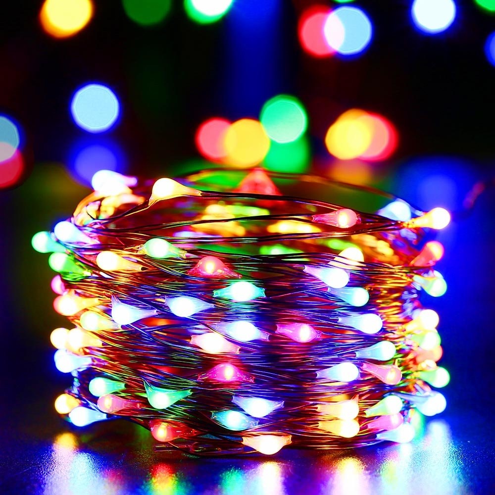 Qedertek luci natalizie da esterno catena luminosa 12m for Luci a led esterno