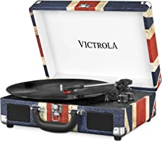 Victrola Suitcase Turntable 3-Gang Bluetooth Kofferplattenspieler - Britische Flagge