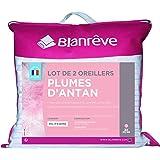 Blanrêve - Lot de 2 Oreillers D'ANTAN - NATURELS - Plume - mi ferme - 60x60 cm