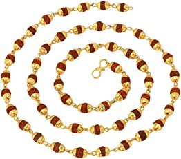 The Jewelbox Gold Plated Rudraksh Mala Chain Long 28 Inches for Men Gift