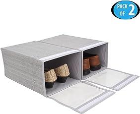 HomeStorie™ Non-Woven Foldable Shoe Organizer Box, Pack of 2