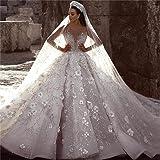 QING XIN-1225 Abiti da Sposa Abiti da Sposa Arabo in Rilievo Abito da Sposa in Pizzo a Maniche Lunghe 3D Floreale Wedding Abi