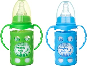 NAUGHTY KIDZ Premium Borosilicate Handy Glass Bottle with Ultrasoft LSR Nipple||Silicone Bottle Warmer||Easy to Hold Handle||Key TEETHER||Hood RETAINING Cap and Sealing DISC Ring (Blue+Green)