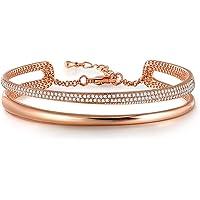Angelady Bracelet Bague Femme Argent Bracelet Or Rose Cristaux Bracelet Personnalisé Bracelet Jonc Cadeau Anniversaire…