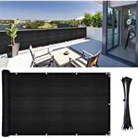 YQing Balcony Privacy Screen 106cm x 502cm Fence Windscreen for Porch Deck, Outdoor, Backyard, Patio, Balcony to Cover Sun Shade, UV-Proof, Weather-Resistant, Includes 35 pc Cable Ties (Black)