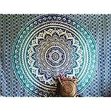 Couvre-lit indien Hippie Gypsy Style Bohème, Décoration de chambre 100% coton imprimé à la main, Tapisserie murale ou drap de Plage Mandala