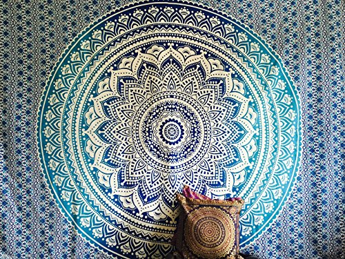 Raajsee Tapices de pared color azul tipo mandala de doble tamaño, dis