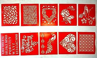 Woolley Art & Craft Reusable DIY Wall Stencil (Set of 10 Design)