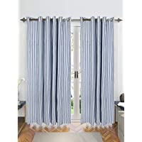 Saral Home Blue Stripes Cotton Yarn Eyelet Door Curtains - (Set of 2, 4x7 Feet)
